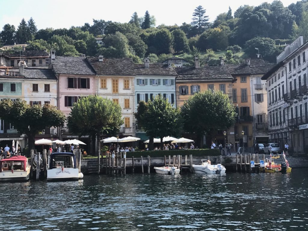 The coloured houses in the main square of San Giulio